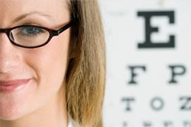 Girl with eye chart